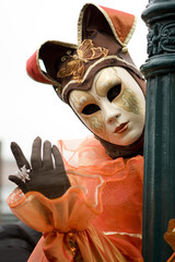 Festival dress and mask at the Venice carnival.