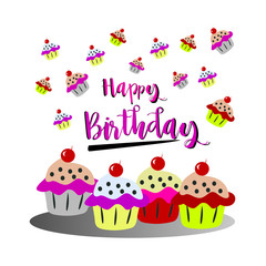 The word Happy Birthday To You. Vector banner with the text color