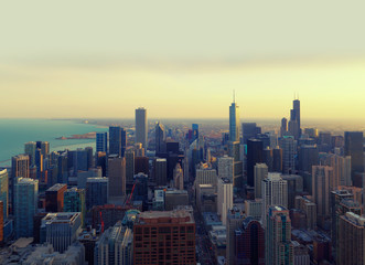 Chicago City at sunset,  illinois, USA