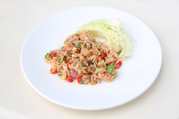 Spicy Tuna Salad on white background