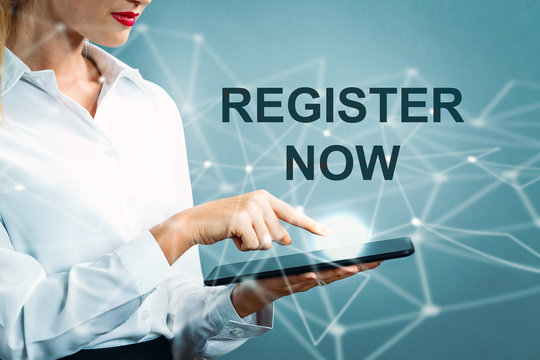 Register Now text with business woman