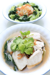 Homemade Sea Bass Fish with Noodles, gourmet food