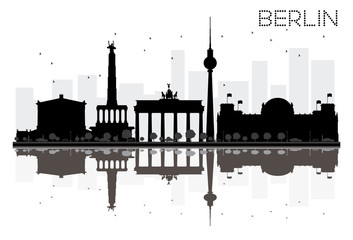 Berlin City skyline black and white silhouette with reflections.