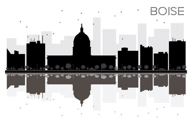 Boise City skyline black and white silhouette with reflections.