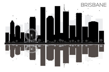 Brisbane City skyline black and white silhouette with reflections.