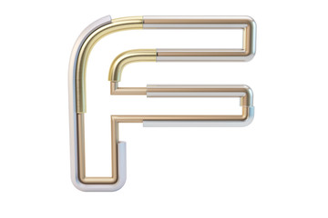 Metall pipe alphabet isolated on white background 3d illustration letter F