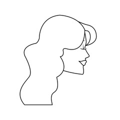 beautiful happy young woman profile icon image vector illustration design