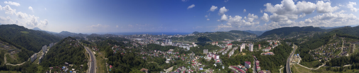 Aerial panorama view on Sochi