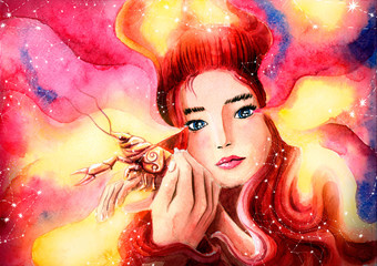 Foto op Plexiglas Beauty Sweet girl protects cancer represents the zodiac sign Cancer. Painted watercolor