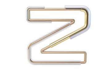 Metall pipe alphabet isolated on white background 3d illustration letter Z
