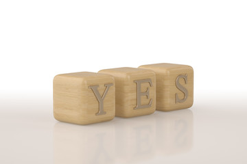 Yes written with metal letters isolated on white backgroun.3D illustration.