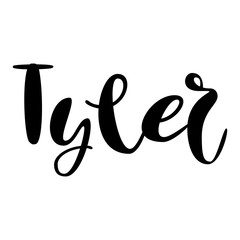 Male name - Tyler. Lettering design. Handwritten typography. Vector