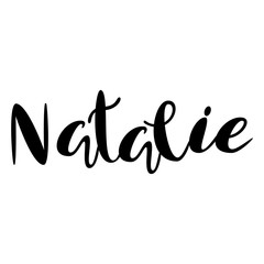 Female name - Natalie. Lettering design. Handwritten typography. Vector
