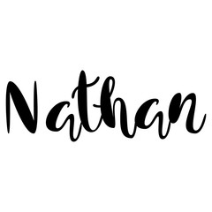 Male name - Nathan. Lettering design. Handwritten typography. Vector