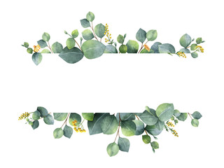 Watercolor green floral banner with silver dollar eucalyptus leaves and branches isolated on white background. Fotoväggar