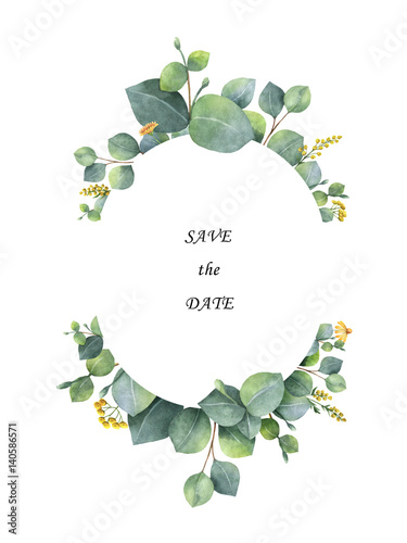 watercolor wreath with silver dollar eucalyptus leaves and branches