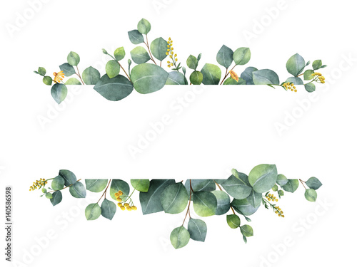 watercolor green floral banner with silver dollar eucalyptus leaves