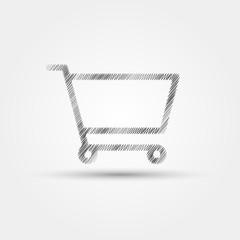 shopping trolley scribble vector