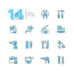 Tools - coloured modern single line icons set