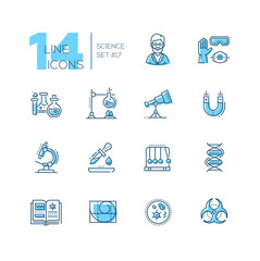 Science - coloured modern single line icons set