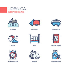 Sleep - coloured modern single line icons set
