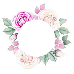 Round frame with watercolor roses