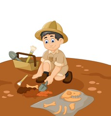 cute man Archaeologists cartoon searching fossil