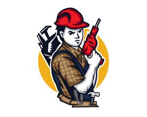 Modern Occupation People Cartoon Logo - Handyman