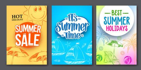 Summer sale and summer time vector web poster designs set with colorful backgrounds and drawing elements. Vector illustration.
