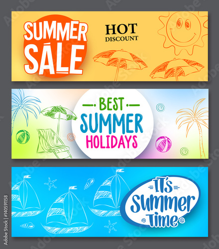 Summer Sale And Holidays Vector Web Banner Designs Set With Colorful Backgrounds Drawing Elements