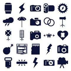 Set of 25 flash filled icons