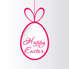 Easter egg with the word Happy Easter on a rope.  Happy Easter symbol.  Greeting Card Happy Easter. Vector Image.