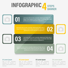 Infographic four steps vector banner. Part 8.