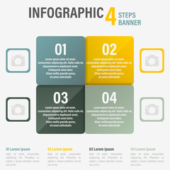 Infographic four steps vector banner. Part 12.