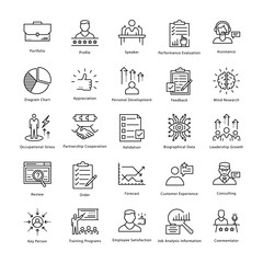 Business Management and Growth Vector Line Icons 12