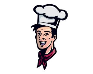 Modern Restaurant Chef Logo Cartoon - Western Restaurant Young Head Chef