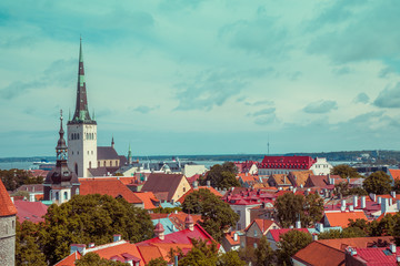 Panoramic view of Old Tallinn city, Estonia