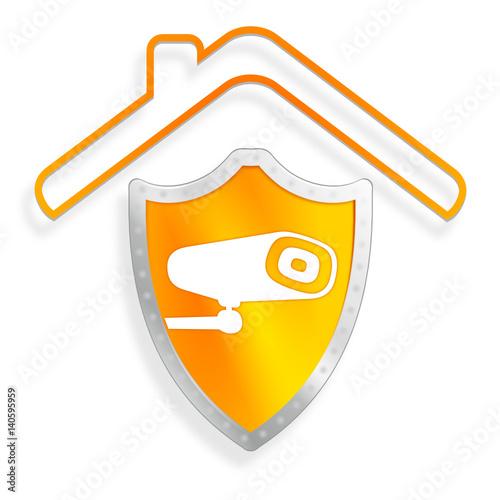 vid o surveillance alarme sur bouclier maison orange fichier vectoriel libre de droits sur la. Black Bedroom Furniture Sets. Home Design Ideas