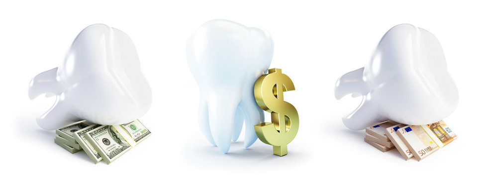 Cost of dental treatment on a white background 3D illustration