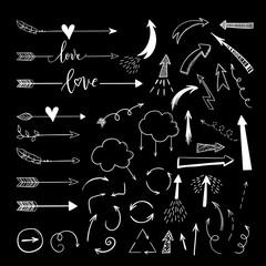 Handdrawn arraws, borders set with hearts, love. Vector icon.