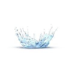 water splash like crown shape on white. 3D illustration