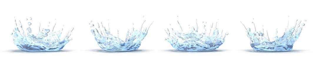 water splash with ripple renders set from different angles on a white. 3D illustration