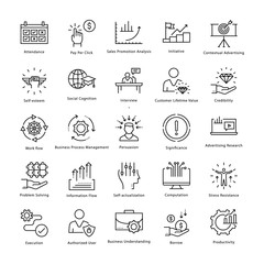 Business Management and Growth Vector Line Icons 35