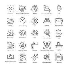 Business Management and Growth Vector Line Icons 40