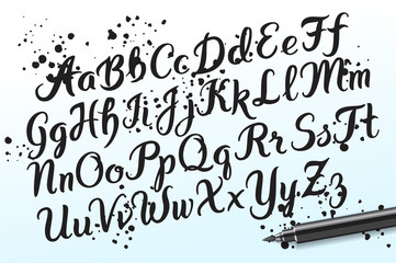 Hand drawn brushpen alphabet letters