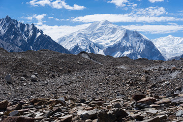 Baltoro Kangri mountain peak behind Vigne glacier, K2 trek, Pakistan