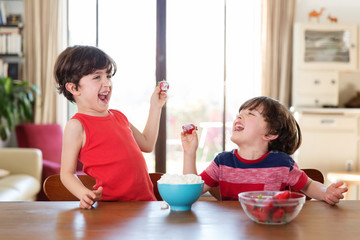 twin brothers eating strawberries and laughing together