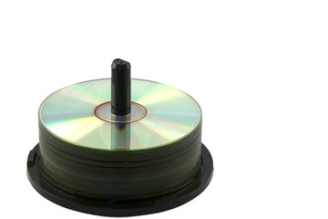Compact discs on a white background .