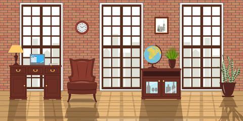 Loft studio furnished Interior. Big windows, red brick wall