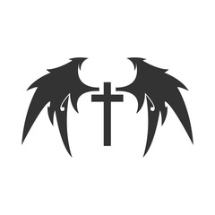 Cross and Devil Wing Vector Tattoo. Isolated